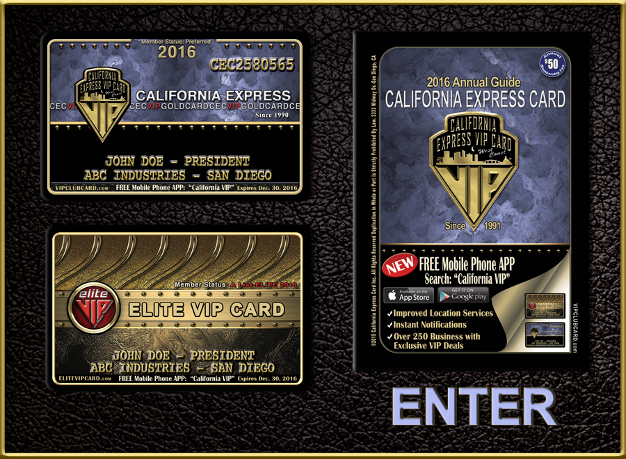 California VIP Card | VIP Club Card | California Express VIP Card | Elite VIP Card San Diego | Discount Card | Coupon San Diego | Entertainment Card San Diego